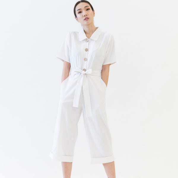 Canvas Oksana Linen Jumpsuit in White