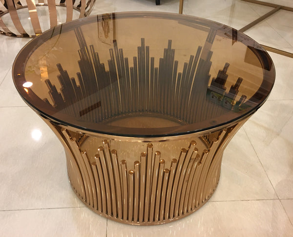 Round Brass - Glass Center Table