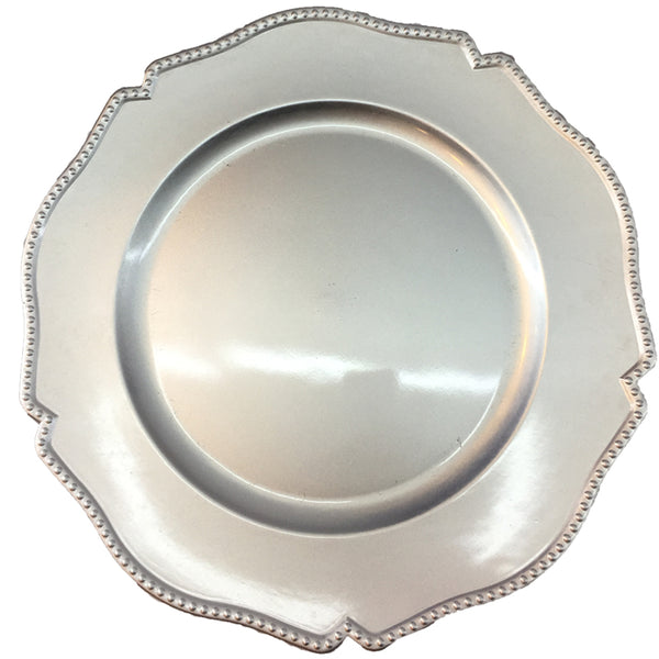 Charger Plates Scalloped Edge Acrylic Plastic Metallic Silver