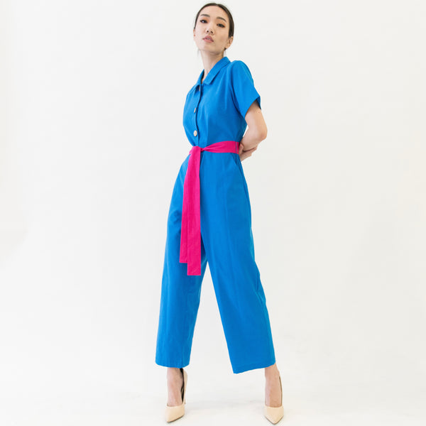 Canvas Osanna Belted Linen Jumpsuit in Azure Blue