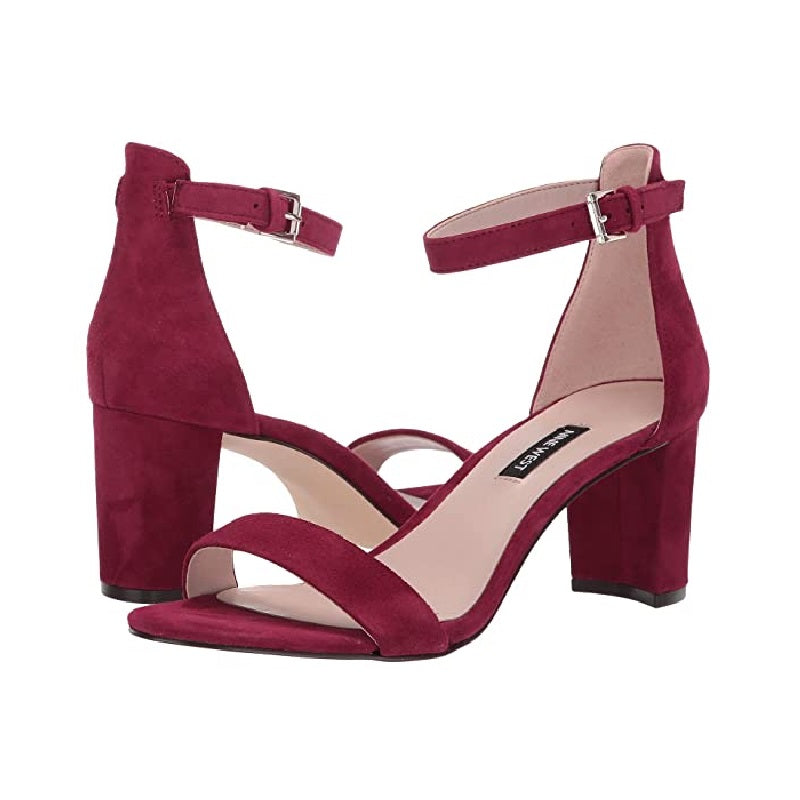 Nine West Pruce Ankle Strap Block Heel Sandals Dark Wine Red