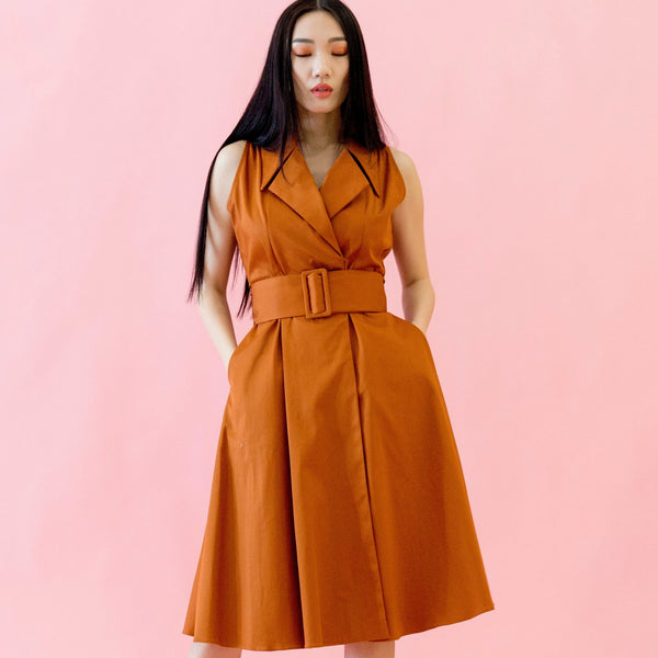 Canvas Amanda Trench-Inspired Dress in Rust