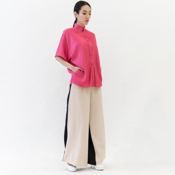 Canvas Ophelia Oversized Silk Crepe Shirt in Pink