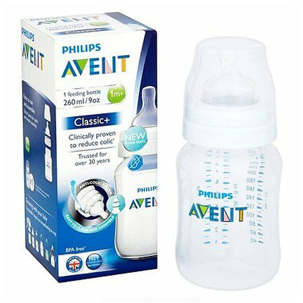 Avent - Classic+ Feeding Bottle 1m+ Teat CLEAR 260ML scf563/17