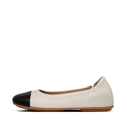 Fitflop Allegro Leather Toe-Cap Ballet Pumps Stone