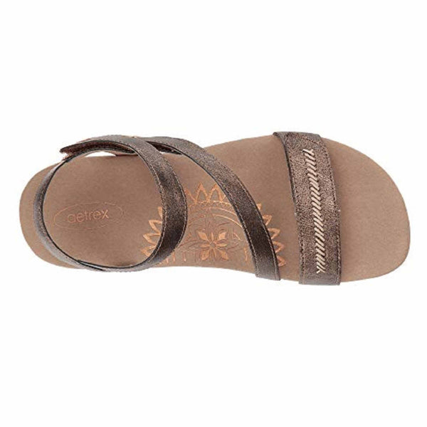 Aetrex Gabby Adjustable Sandal in Bronze