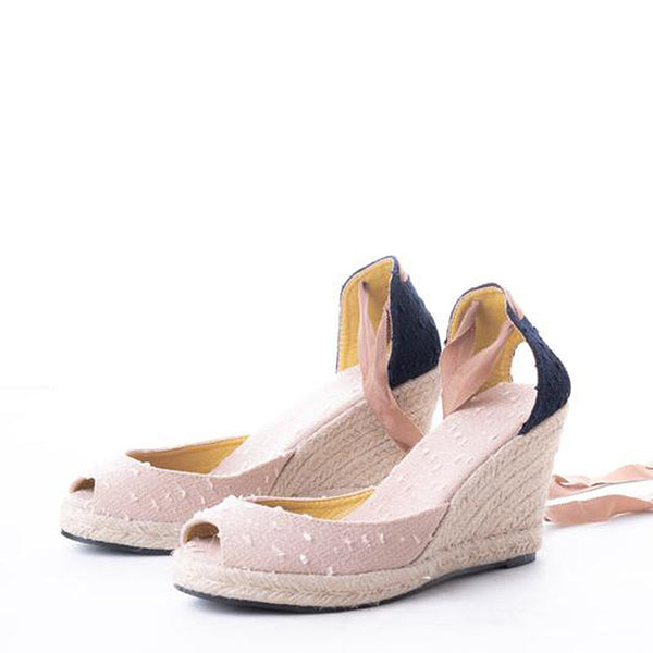 Daily Schedule Lace Up Espadrilles (Apricot Linen)