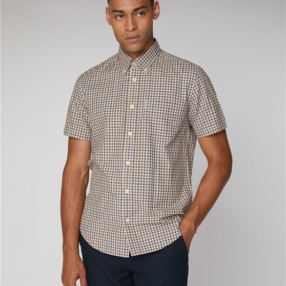Ben Sherman Woven Short Sleeve House Gingham Shirt | Mink