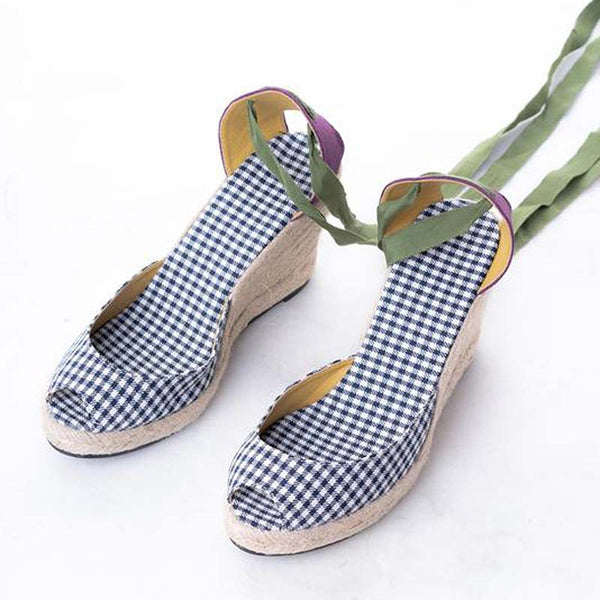 Daily Schedule Lace Up Espadrilles (Checkered) Black