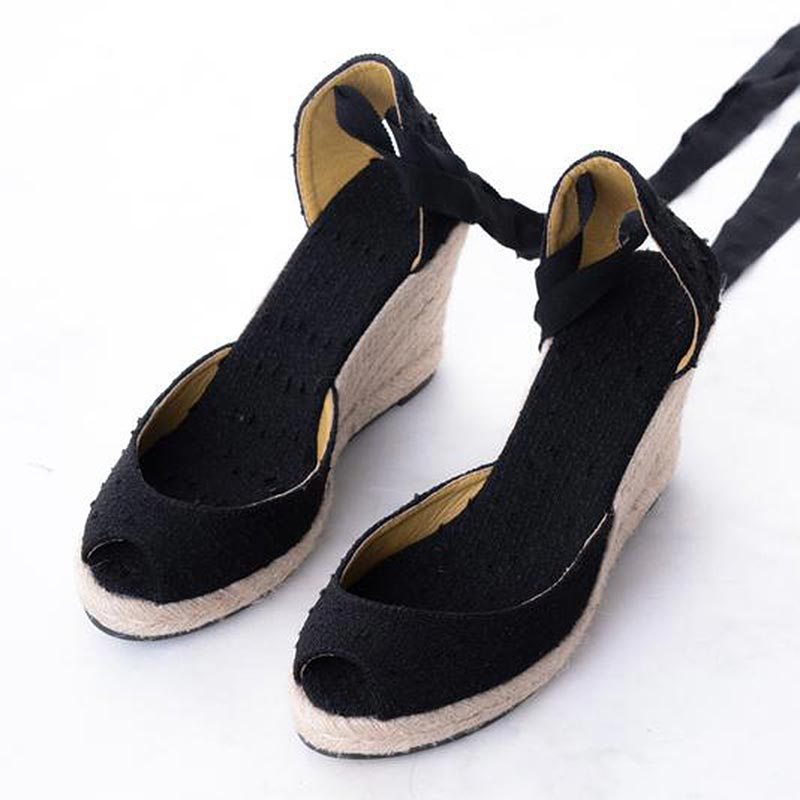 Daily Schedule Lace Up Espadrilles (Black Linen)
