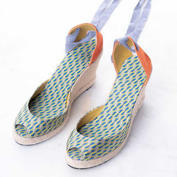 Daily Schedule Lace Up Espadrilles (Brocade Blue Green)