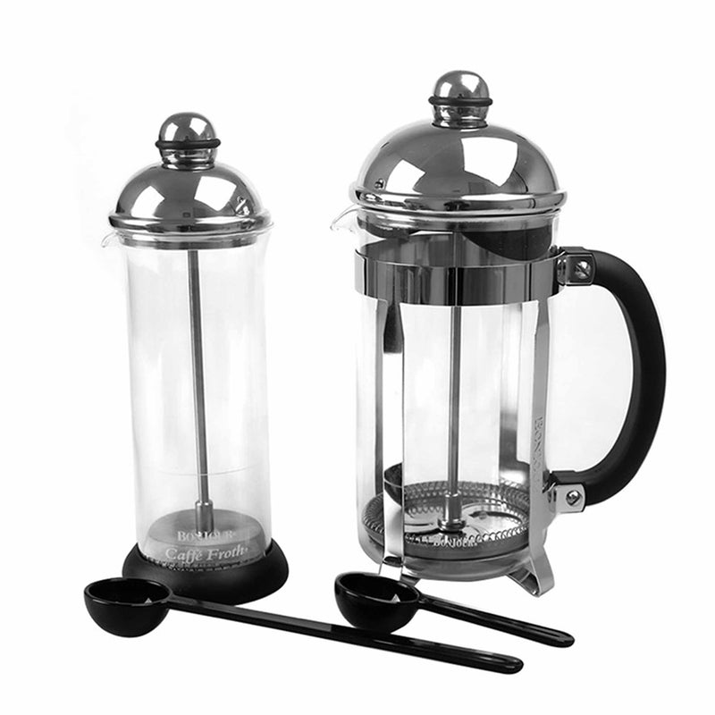 Bonjour French Press and Milk Frother Set