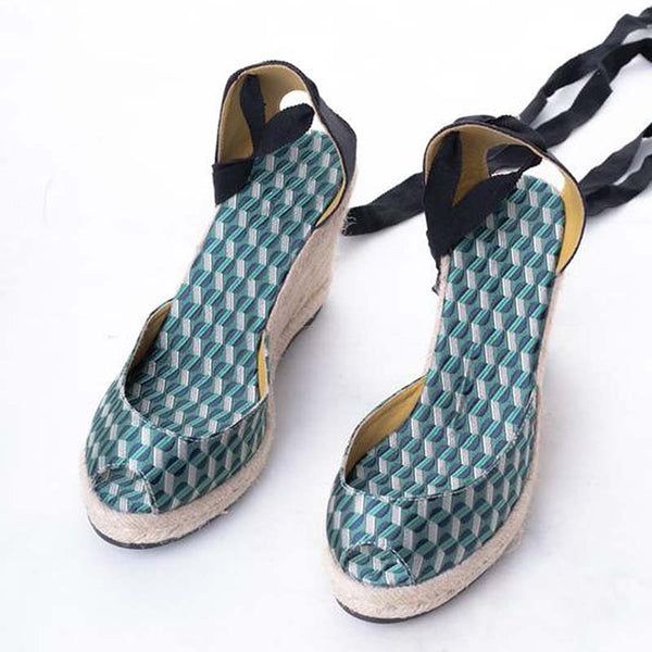 Daily Schedule Lace Up Espadrilles (Brocade Green)