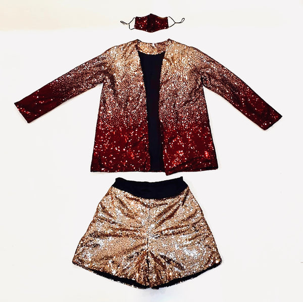 Canvas Nadia Sequin Drape Cardigan in Red and Gold Ombre