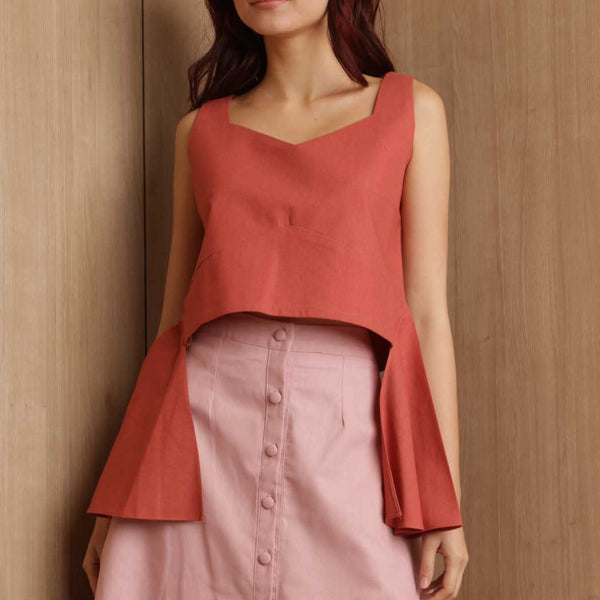 Canvas Agda Top in Red Rust