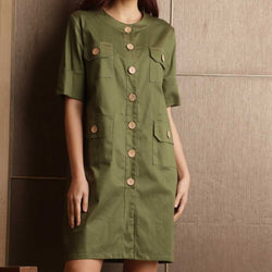 Canvas Aniel Dress in Olive