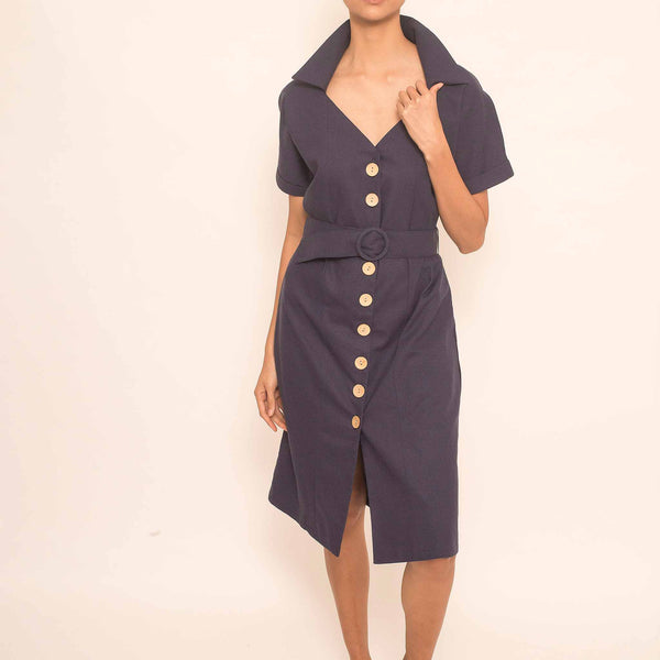Canvas Libby Dress in Navy