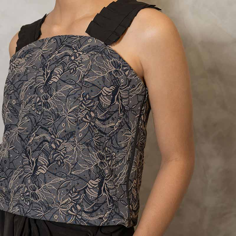 Canvas Demi Top in Denim Brocade
