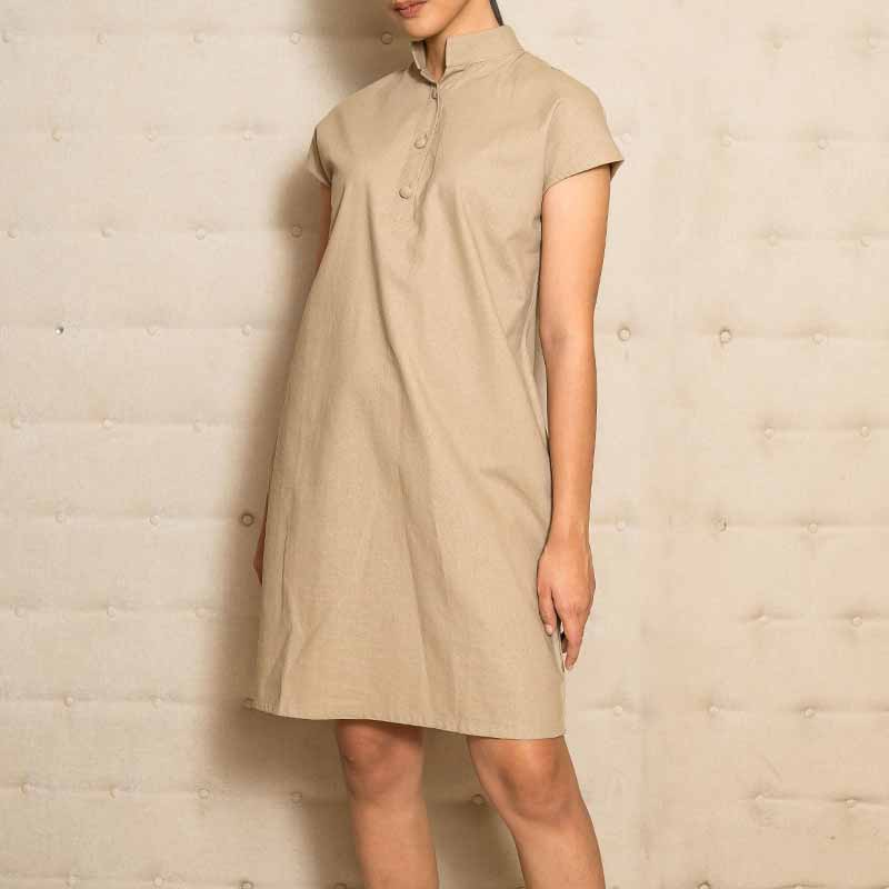 Canvas Helia Dress in Chestnut