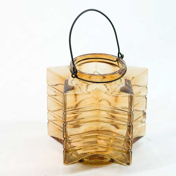 Candle Holder | Glass Star Candle Holder Lantern (Amber)