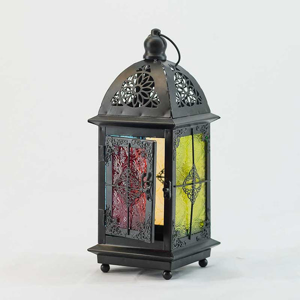 Candle Holder Lantern with Colored Glass