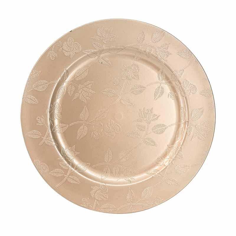 Charger Plate Rose Gold with Roses