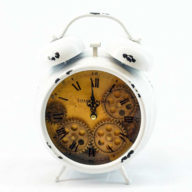 Clock | Vintage Twin Bell Alarm Clock (Distressed White)