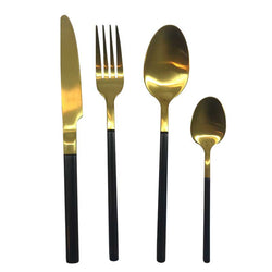 Flatware Set of 4 | Two-Tone Matte Gold and Black