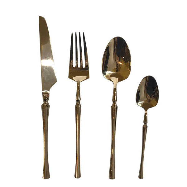Flatware Set of 4 | Gold Plated Turned Handle