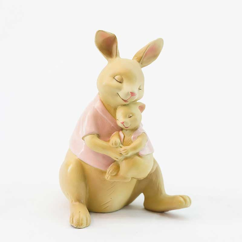 Figurine | Rabbit Mother & Child Hugging