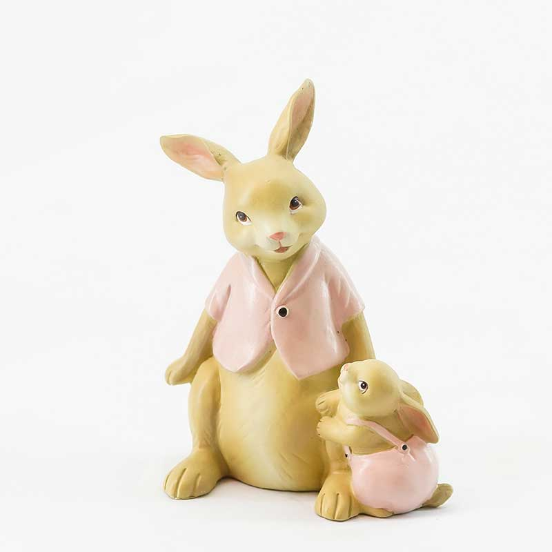 Figurine | Rabbit Mother & Child Sitting
