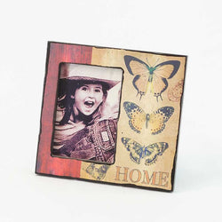 Frame | Wooden Frame with Butterflies and Home Design