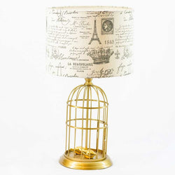 Lamps | Birdcage Lamp with Vintage Print Shade