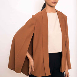 Patty Ang Cape Blazer in Brown