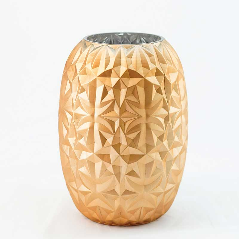 Vase| Gold Painted Glass Vase with Geometric Patterns