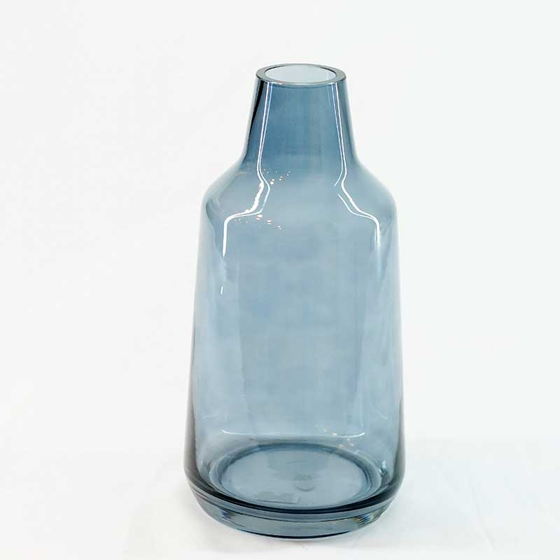 Smoked Blue Glass Bottle-shaped Vase