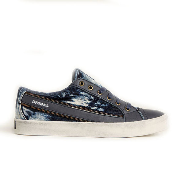Diesel Men's Fashion Sneaker D-String Low | Dye Denim Leather/Indigo