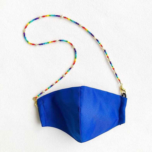 Delilah Cobalt mask with rainbow and pearl string holder