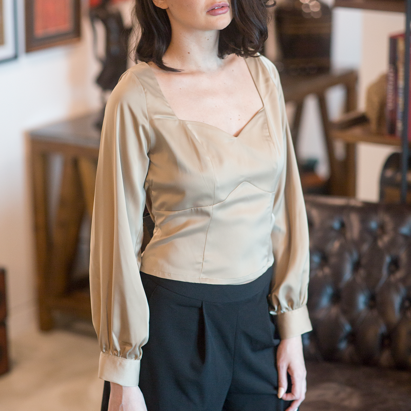 Canvas Florence gold satin top with sweetheart neckline
