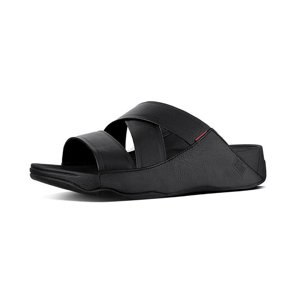 FitFlop Chi Men's Leather Sandals in Black/Dark Tan