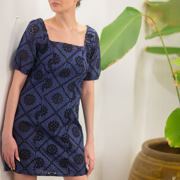 Canvas Frances Eyelet Dress in Navy