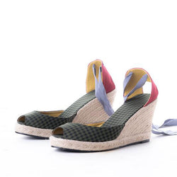 Daily Schedule Lace Up Espadrilles (Checkered Green)