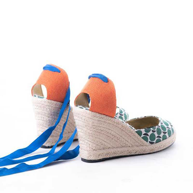 Daily Schedule Lace Up Espadrilles (Green Circle)