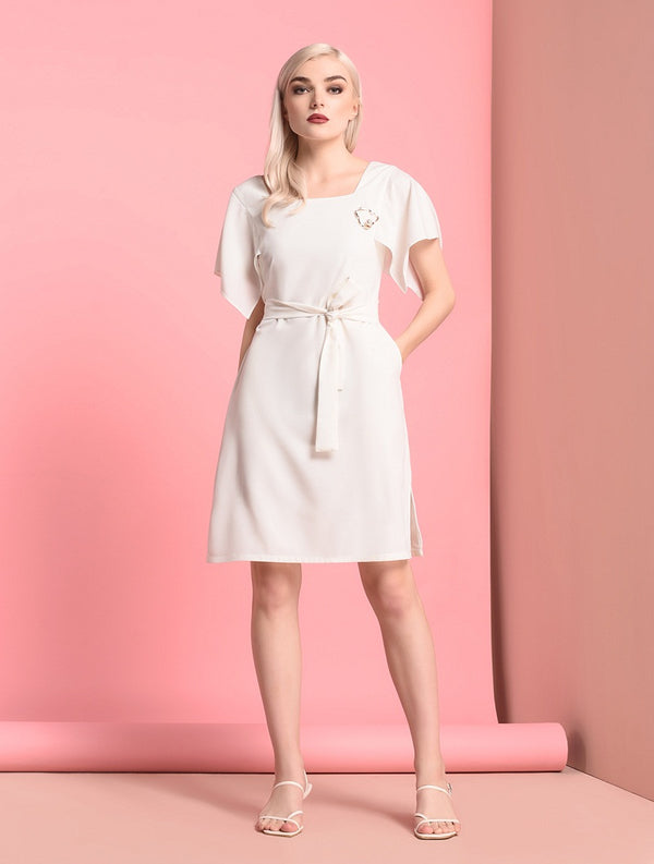 RAF Stint Short Sleeves Dress White