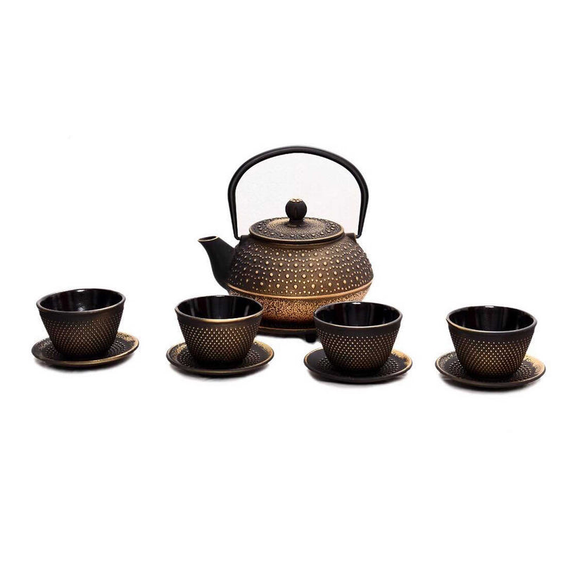 Cast Iron Teapot Set (Black & Gold)