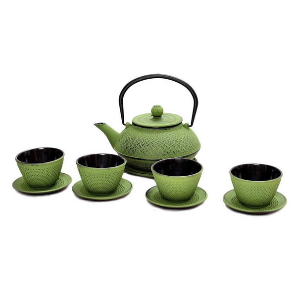 Cast Iron Teapot Set (Green)