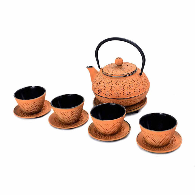 Cast Iron Teapot Set (Orange)