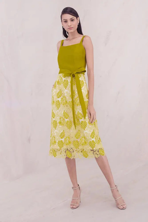 Mark Bumgarner Chase A line lace sleeveless dress in Yellow