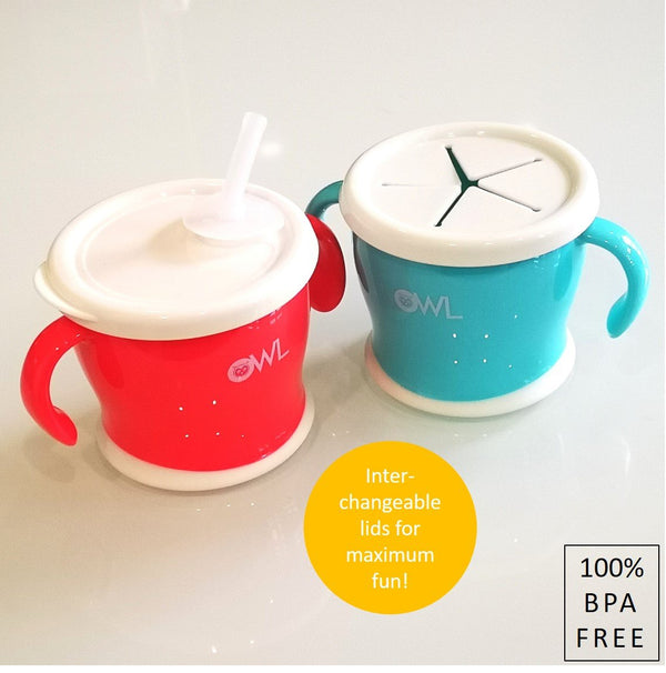 Owl Baby Mix n' Match Multifunctional Snack + Straw Drinking Cup