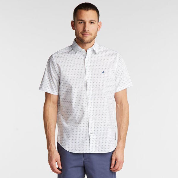 Nautica Men's Classic Fit Wrinkle Resistant Oxford Shirt in Print
